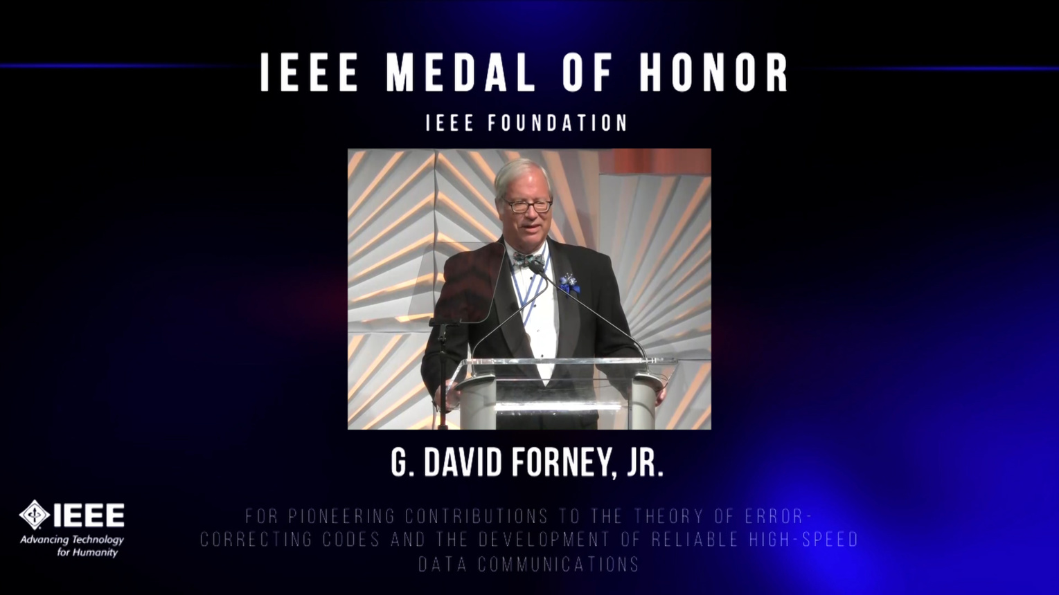 G. David Forney, Jr. accepts the IEEE Medal of Honor - Honors Ceremony 2016