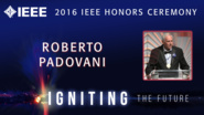 Roberto Padovani accepts the IEEE Alexander Graham Bell Medal - Honors Ceremony 2016